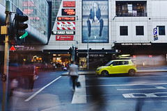 _MG_2838 (jaceeverie) Tags: street city people cars car yellow shopping traffic outdoor central streetphotography melbourne pedestrian move slowshutter greenlight rushhour
