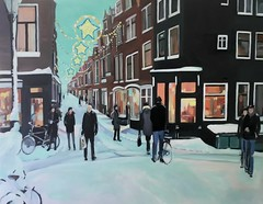 Winter 2010 in Amsterdam, Oil on Canvas (Plumkin) Tags: christmas street city original windows winter decorations people white snow cold holland reflection art classic ice colors beautiful dutch amsterdam night buildings shopping painting walking landscape outside lights evening artist glow cityscape colours bright outdoor traditional creative thenetherlands plum bikes historic canvas covered handpainted painter oil inside illustrator activity narrow thick fietsen winterwonderland fiets 2010 britishartist sneow plumovelgonne