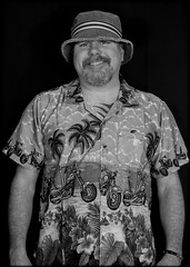 Hawaiian Shirt. (CWhatPhotos) Tags: pictures camera summer portrait white holiday man black male monochrome hat shirt that lens beard fun photography foot prime mono hawaii goatee cool shoes foto bright image artistic time pics pair hula picture pic olympus images wear ox have mans photographs photograph ii fotos mens hawaiian which 45mm mk contain omd hawai hol hawiian em10 cwhatphotos