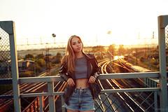 Nastya (Vendigo) Tags: girl sexy sunset summer train blonde sunlight outdoors jacket jeans shorts rails bridge beauty black beautiful miass миасс