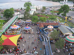 Rye Playland boardwalk, beach and amusement park from above (AndrewDallos) Tags: park new york beach amusement rye boardwalk rides playland