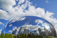 Chicago Snow Globe... (Ring of Fire Hot Sauce 1) Tags: chicago reflection skyline clouds bluesky bean cloudgate