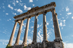 Ruins of the Forum (rebecca_e_johnson) Tags: old city travel blue sky italy rome roma building skyline architecture clouds outdoors ancient ruins roman forum pillar ruin kingdom structure government pillars majestic remains romanforum fororomano