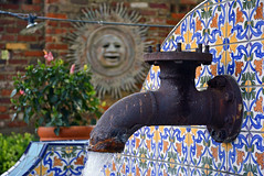 water facet PS (RLBrinkman) Tags: rosiesmexicancantina hibiscus flowers flower courtyard garden summer colorful mosaic tile facet water waterfacet rust texure