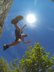 The Leap (The.Mickster) Tags: portrait self jump wideangle fisheye idaho trail randy sunburst 365 sunflare gopro