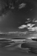 Moonlit Surf (StephEvaPhoto) Tags: milkyway blackandwhite sigma24mmf14dgart australia australiancapitalterritory blackandwhitephotography sydney 6d northernbeaches monochrome fullframe newsouthwales blackwhite canoneos monochromephotography canoneos6d 24mm act art dg nsw prime primelens sigma f14 turimettabeach