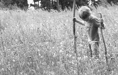 L'explorateur en herbe (CcileAF) Tags: wild portrait white black nature monochrome canon countryside child nb fields