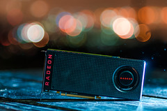AMD's RX 480 in the Rain (UncheckedError) Tags: wood longexposure night graphics nikon technology dof bokeh flash amd nikkor product d7000 rx480