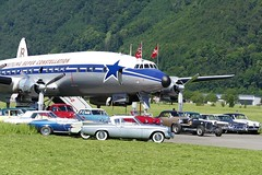 "Lockheed Breitling Super Constellation ""Super Connie"" HB-RSC and Studbakers Classic Cars at Buochs Airport Switzerland 20160610 (roli_b) Tags: lockheed super connie superconnie constellation hbrsc studbaker oldtimer oldies classic cars buochs airport flughafen schweiz suisse suiza svizzera switzerland june 2016"