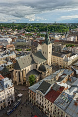 Latin Cathedral in May (tarmo888) Tags: vertical aerialview super lviv ukraine medieval unesco lvov  lww lemberg  lwow leopolis ukrayina photoimage  sooc sonyalpha   ratusha pictureeffect sony geosetter  geotaggedphoto nex7 sel18200 foto hdrpainting year2016