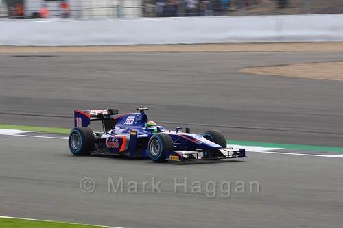 Sergio Canamasas in his Carlin car in the GP2 Qualifying at the 2016 British Grand Prix