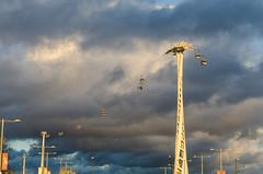 contrasts (sixthofdecember) Tags: city greatbritain travel england urban london sunshine rain clouds outside outdoors high nikon cloudy unitedkingdom overcast sunny emirates rainy cablecar docklands canarywharf tamron contrasts intheair emiratesairline tamron18270 nikond5100