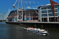 Stadium Boat (howell.davies) Tags: uk wales river landscape boat scenery tour princess stadium cardiff millennium national 1855mm taff katharine archiecture principality structur