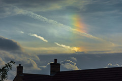Sundog 27.06.16 (Myrialejean) Tags: roof chimney england sky ice weather clouds outdoors rainbow crystals bright hexagonal halo refraction gb parhelion phantom luminous sundog atmospheric suns meteorology parhelia phenomenon grantham