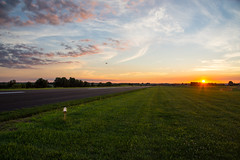 Remote controlled jet flies into the sunset (sniggie) Tags: sunset airport dusk kentucky remotecontrol runway washingtoncounty modeljet remotecontrolledjet jetsoverkentucky lebanonspringfieldairport