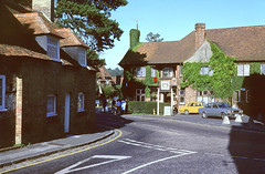 English Village Scene (colinfpickett) Tags: road trees cars beauty rural pub village junction lane dwellings
