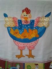 Galinha fofuxa (Pintura em tecido. Panos de prato.) Tags: