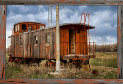 End of the Line (PhotogTrekker) Tags: county old railroad travel sky copyright cloud history field museum clouds rural train landscape town nikon rust colorado track cloudy antique country uploaded meadow places caboose used collection credit rusted transportation craig co traincar weathered boxcar aged nikkor traintrack smalltown collecting collector wyman d800 grassy delapidated weatherbeaten copyrighted trainsignal condition digitalphotoframe 2470mm signallight 2013 phototechnique yampavalley moffatcounty johnbielick louwyman photogtrekker wymanlivinghistorymuseum