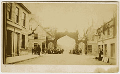 Triumphal arch, Aberfeldy [1877] (P&KC Archive) Tags: building tourism fashion sport architecture scotland 19thcentury perthshire scene celebration recreation roads royalty aberfeldy spectacle perthandkinross