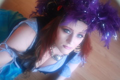 No one to drink with (blackunigryphon) Tags: blue woman girl lady costume purple cosplay feather liquor pirate wench pyrate piratehat chinesespirits winepot blackunigryphon kandicezimbleman marshallkndis