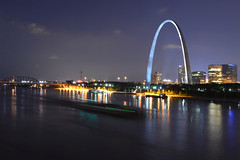 St. Louis Gateway Arch and Mississippi River (dougclemens) Tags: saint st skyline night river mississippi louis downtown arch gateway barge hdr d5100