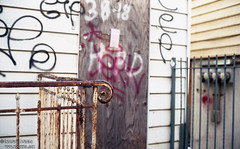 Condemned (Indofunk Satish) Tags: nyc film brooklyn graffiti agfa canonet ql17 giii grungy streetshot agfavistaplus