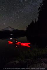 Red Kayak at Night (dkbaker59) Tags: longexposure nightphotography mountain lake boat kayak alpine mthood trilliumlake 2013 dawnbaker dkbaker bymyowneye