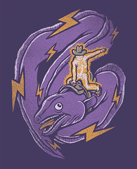 Electric Rodeo (wanderingbert) Tags: art electric illustration digital skeleton design cowboy tshirt electricity rodeo bolts lightning eel threadless