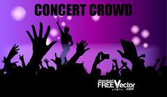 Download concert vector (Freevectorzone) Tags: show party festival rock youth club fun fan dance concert hand audience background crowd group young silhouettes celebration entertainment musical human musicvector