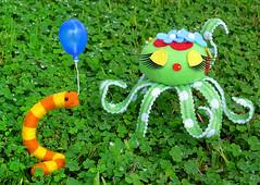 Slimey is smitten (DollyBeMine) Tags: pet cute felted toy colorful hand character felt made needle gift sesamestreet octopus pincushion worm oscarthegrouch slimey toysundaygifts