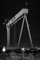 Dark Giant (ColinParte) Tags: nightphotography mono industrial nightshot belfast monotone cranes height harlandwolff