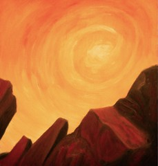 Cliffs With Gloaming (CityOfDave) Tags: sunset mountains art illustration painting rocks rocky cliffs moonlight oils oilpainting gloaming oilonwood