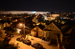 .@KarlTheFog eating downtown. (spieri_sf) Tags: sanfrancisco california fog night downtown citylights bernalheights marinelayer karlthefog spenktower