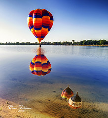 One Up, Three Down (JusDaFax) Tags: trees sky reflection classic water balloons sand colorado basket sony balloon shore springs ripples 2013