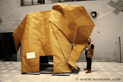 Life-sized Origami Elephant (Himanshu (Mumbai, India)) Tags: life sculpture india elephant art animal modern paper big origami artist contemporary nick large craft poland polska professional installation papel oversized mumbai papier paperfolding robinson folding modele łódź sized agrawal rzeźba himanshu polskie sztuka składanie nowoczesna papieru papierowe orukami himanshuagrawal himorigami himanshuorigami