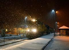 The Train is Westbound....... (Theresa*) Tags: railroad winter snow cold train illinois geneva headlights unionpacific nikond7000