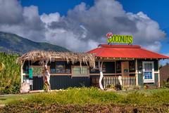 Coconut Stand (illusionsofgrandeur) Tags: travel summer vacation fruit clouds island hawaii maui fruitstand coconuts hdr travelphotography coconutstand