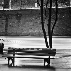 standing still (city/human/life) Tags: street longexposure trees winter light people blackandwhite bw white man black tree water wall reflections river germany bench deutschland licht essen nikon flooding wasser mood shadows flood january dramatic atmosphere bank menschen busstop steine human le nrw sw ufer fluss schatt