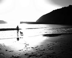 Chica con perro en la playa de Gorliz (Explore 2014-04-14) (ines valor) Tags: bw playa gorliz siluetas