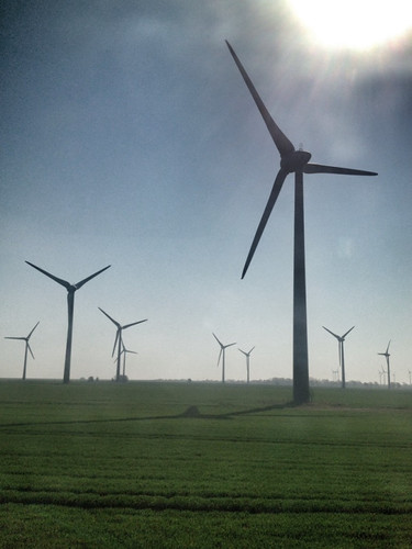 Puttgarden wind turbines on a sunny April day.