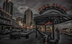 Be Like Pike, Pike Place, Seattle, WA, USA (BeyondThePrism) Tags: road seattle street light sunset red sky bw orange building cars car sepia buildings gold lights golden washington nikon neon glow cloudy market cone parking streetphotography structure retro neonlights pike pikeplace canopy washingtonstate setting tone selective settingsun streetside d5200 myhairisgettingrediculouslylong nikond5200