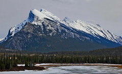 Mount Rundle & Frozen Mountain Lake (LostMyHeadache: Absolutely Free *) Tags: trees winter sky mist mountain lake snow mountains cold ice nature water weather rock misty forest canon rockies frozen spring day atmosphere overcast cliffs shore banff rockymountains peaks lakelouise mountrundle ridges slopes banffnationalpark canadianrockies calgaryalbertacanada eos60d pwwinter
