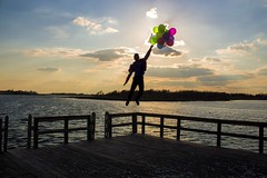 (joannaapril) Tags: ocean sunset art beach water colors up clouds project balloons movie island photography bay flying photo dock colorful floating disney shilouette