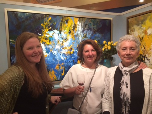 Coconut Grove gallery director Jenelle Kuhl with artists Doris Savard and Debra Rubin at their opening night at the gallery