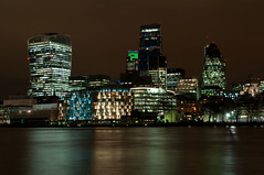 City of London (AlexPMoore) Tags: city uk light reflection building london thames architecture night buildings river lowlight darkness low cities nightshoot nighttime riverthames cityoflondon fav5