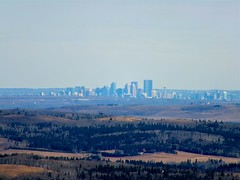 Foran Grade to Pine Ridge Loop Trails Winter Hike - Extreme zoom shot of Calgary, an hour's drive away (benlarhome) Tags: winter foothills snow canada ice trekking trek kananaskis rockies hiking hike alberta rockymountain february calgarytower pineridge thebow sandymcnabb forangrade