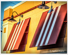Light Awning (augphoto) Tags: building texture lines architecture buildings awning lights restaurant exterior unitedstates shapes southcarolina greenwood business commercialbuildings augphotoimagery