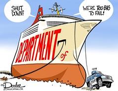 homeland security cartoon (DSL art and photos) Tags: homelandsecurity politics security cruiseship democrats republicans bureaucracy editorialcartoon bloat shutdown donlee toobigtofail