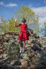 Walking on Broken Glass (Queen of the Hill) (Igor Voller) Tags: blue red sky cloud white tree glass girl socks kid dress russia outdoor moscow himmel kind blau  moskau baum glas mdchen rote   kleid  russland       sonnelicht