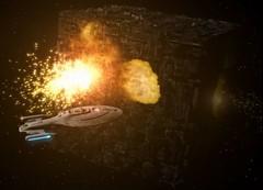 TV Voyager season 3 Borg ship destroyed (Monte Mendoza) Tags: startrek borg voyager startrekvoyager borgcube